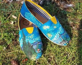 Van Gogh's Starry Night CUSTOM PAINTED SHOES!