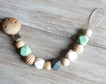 Silicone and Natural Wood Pacifier Clip