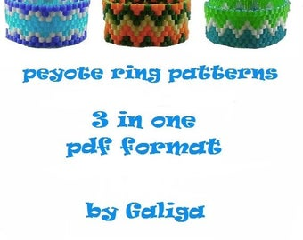 Ring pattern pdf 3 in 1 Peyote ring tutorial Beading instructions Seed bead pattern Beaded ring Geometric ring Jewelry and beading pattern