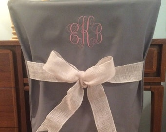 Gray Monogrammed Dorm Chair Back Cover / Personalized chair Cover / Office Chair / Dining Chair/ One Size Fits Most