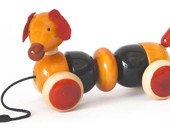 Wooden Bead & Pull Toy Dog made using Natural Colors for Toddlers 3 years old and up | BOVOW