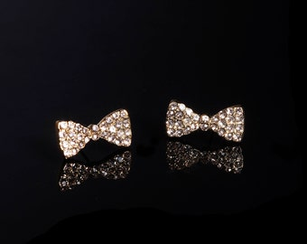Bow Stud Crystal Earrings