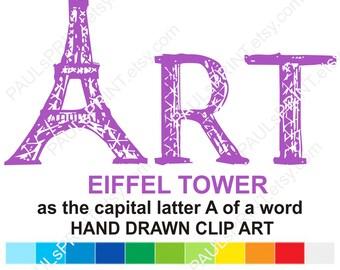 Hand drawn Eiffel tower Eiffel tower clipart Eiffel tower svg Eiffel drawing Painted Eiffel Paris clipart Word art Eiffel Letter A Eiffel