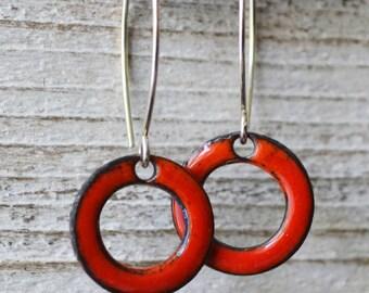 Red Enamel Drop Earrings