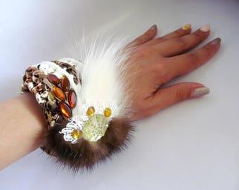Royal bracelet Chic fabric bracelet Designer bracelet Royal Cuff Bracelet Royal Fabric bracelet Fur bracelet Crochet bracelet Royal cuff