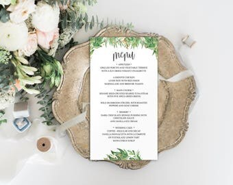 Wedding Menu Template, Menu Template, Editable Menu Template, Menu Printable Wedding, Menu Printable Template, Wedding Menu Card, BD6044