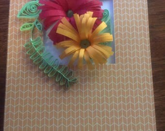 Quilled flower blank greeting card; Mother's Day, birthday, thinking of you.