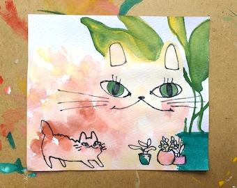 Cat & Plants