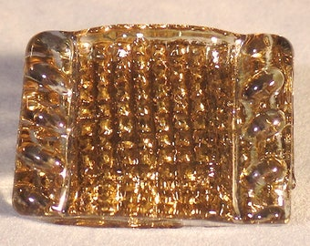 """Vintage Glass """"Bimini Type"""" Button-Rectangle of Light Amber Glass with Gold Back Paint"""