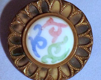 Antique Metal Button w/Victorian Celluloid Underlaid Border & Painted Milk Glass Jewel in Center