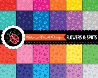 Flowers Floral Spots Pattern Tinted Rainbow Colours Digital Paper Set-Scrapbook, Craft Use, Digital Backgrounds-Personal and Commercial Use