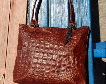 Handmade Croco embossed quality leather shoulder bag in cranberry red/brown colour, vegetable tanned leather