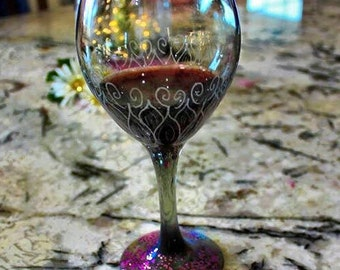 Hand Etched Wine Glass