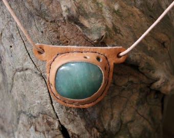 "Leather Amulet ""Aventurine"" Talisman Lucky charm"