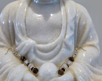 Earrings made unique hands stones rose quartz and smoky quartz 925 Silver hooks, gemstone jewelry, natural stones