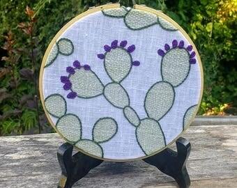 Prickly Pear embroidery hoop art
