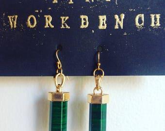 Malachite earrings - 14k gold plated hooks