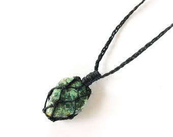 Turquoise Hemp-Wrapped Choker Necklace