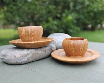 Turned Demitasse Cups and Saucers