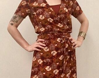 Light Weight Fall Leaves Wrap Dress