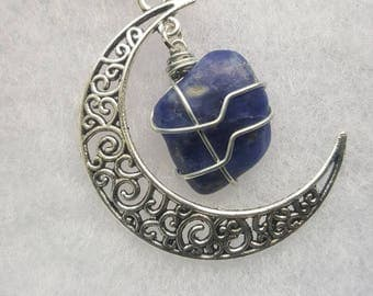 Sodalite Crystal Moon Necklace