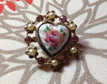 Vintage Heart & Rose Pin