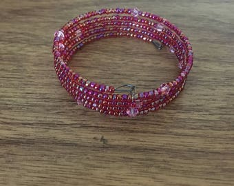Swarovski crystal and glass beaded wrap bracelet