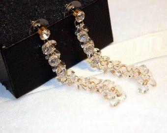 White Black Crystal Long Neck Earrings