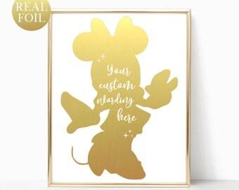 Minnie Mouse Foil Print / Custom Disney Sign / Disney Gold Foil Print / Disney Nursery / Minnie Mouse Birthday / Minnie Mouse Decor