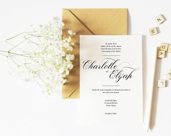 Simple Wedding Invitation Template, Calligraphy Wedding Invitation Printable, Printable Wedding Invitation Set, DIY Wedding Invitation Kits