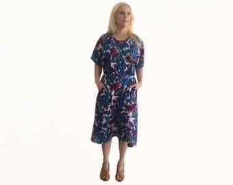 Retro Stitches Dress size 12/ Retro Dress/ Vintage Dress/ Day Dress/ Made in Australia