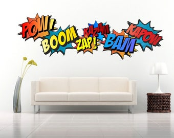 SUPERHERO COMIC WORDS Retro Kapow Boom Zap Bam Colour Wall Art Sticker Kit decals