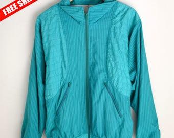 Windbreaker M Vintage windbreaker 90s 80s style Retro windbreaker 90s windbreaker Turquoise windbreaker Stripped Windbreaker Vintage jacket