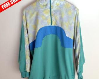 Vintage Jumper Anorak Pale green Large 90s Sweatshirt Vintage pullover 90s sweater Geometric sweatshirt Vintage women sweatshirt Sweater