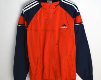 Adidas Jacket Vintage L 90s jacket Adidas windbreaker 90s Windbreaker Vintage windbreaker Adidas jacket Red Adidas 3 stripes Vintage jacket