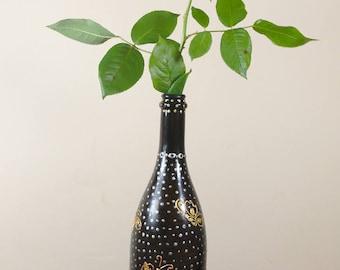 Glass art bottle, glass vase, home decor, art painting