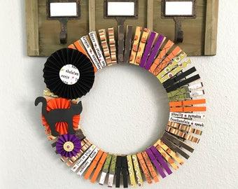 Halloween Wreath - Clothespin Wreath - Spooky Wreath - Halloween Decor - Fall Wreath - 14in Wreath - Black Cat Wreath - Front Door Decor