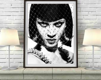 Fashion Model Print, Fashion Print, Coco Chanel Print, Womens Face Printable Download, Model Printable, Black and White Print, Fashion Decor