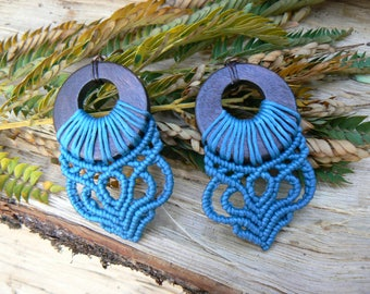 Macrame earrings.Handmade earrings.Gift for women.Boho jewelry.Blue earrings.Hippie jewelry.Ethnic earrings.Micro macrame.Gift for her