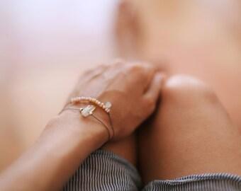 Tiny Rose Quartz Bracelet. Silver Beads Bracelet. Minimalist bracelet. Silk Bracelet