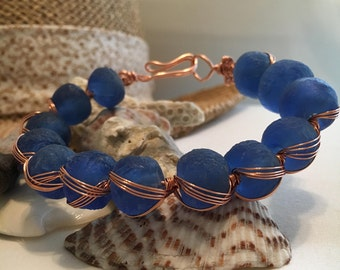Recycled Glass Bead Princess  Wire Wrapped Bracelet!