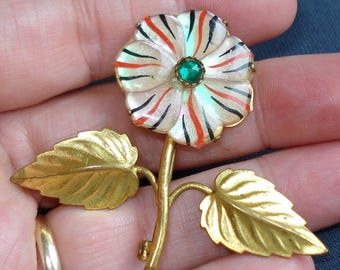 Vintage Lucite and Pressed Metal Flower Brooch