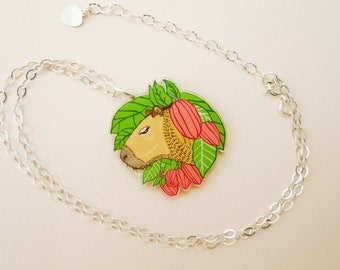 Capybara jewelry, capybara necklace, guinea pig, cute guinea pig, animal jewelry, capybara, cool necklace, quirky gift, quirky jewelry