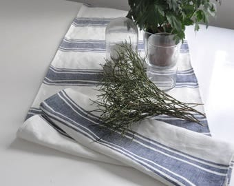 Linen table runner, white blue linen runner, sea beach decor, wedding table runner, linen runner, rustic linen runner, striped placemats