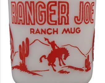Vintage Hazel Atlas Red & White RANGER JOE RANCH Child's Coffee Mug