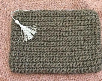 Khaki Crochet Clutch with Tassel