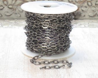 Oval Link Matte Gunmetal Cable Chain 6mmx 7mm
