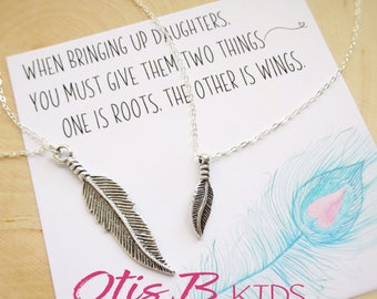Mommy and Me Birds of a Feather necklace SET, complete gift package, preschool gift, kindergarten gift, back to school, Otis B