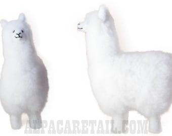 9 IN Handmade Alpaca Stuffed Animal Plush Alpaca  Fur White/Llama fur teddy alpaca Standing handmade Peruvian alpaca fur animal toy