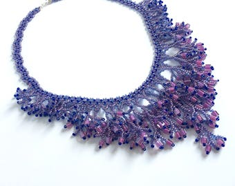 Purple waterfall necklace, Waterfall necklace, fringe necklace, beaded necklace, summer necklace, gift for her, gift for her, boho necklace